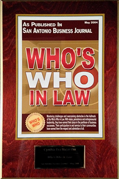 San Antonio Business Journal - Who's Who in Law (Plaque)