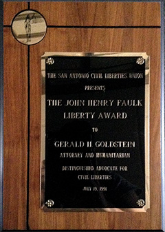San Antonio Civil Liberties Union - John Henry Faulk Liverty Award