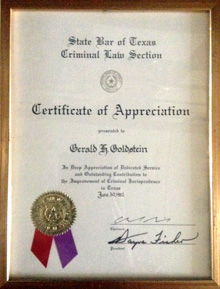State Bar of Texas Criminal Law Section - Appreciation of Service