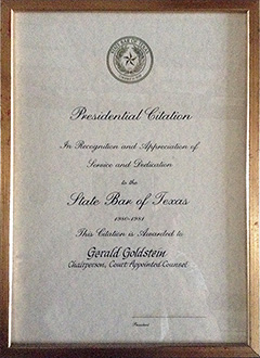 State Bar of Texas - Presidential Citation