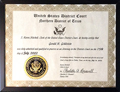 US District Court - Admission to Practice in Texas Northern District